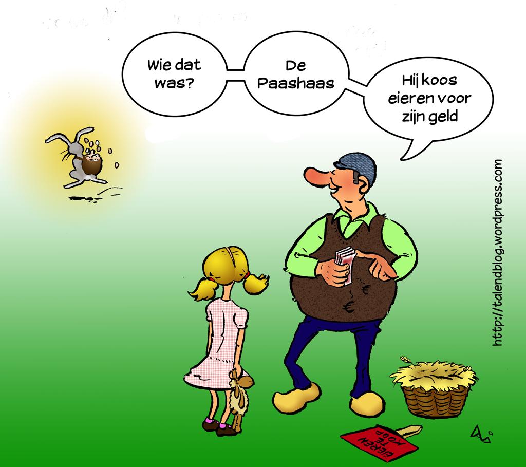 Paaskaart / Paascartoon - Eieren voor zijn geld - cartoon
