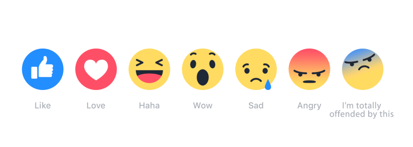 Facebook reactions - with 'totally offended'