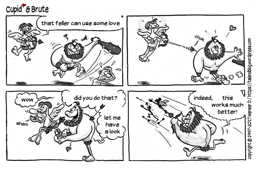 Valentine's Day comic strip: Cupid & Brute